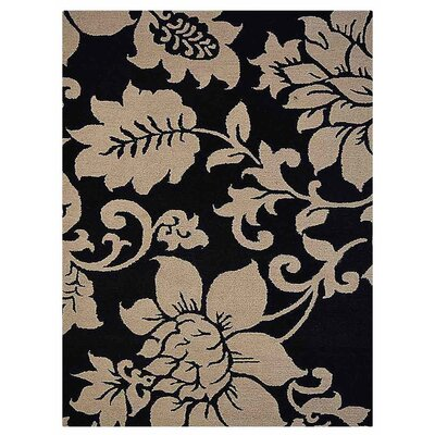 Camptown Floral Hand-Tufted Wool Black/Cream Area Rug Rug Size: Rectangle 5 x 8