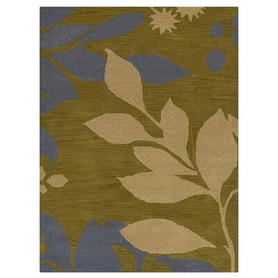 Campas Floral Hand-Tufted Wool Green Area Rug Rug Size: Rectangle 9 x 12