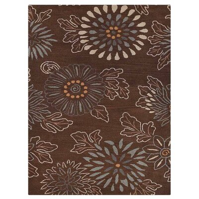 Campas Floral Hand-Tufted Wool Brown Area Rug Rug Size: Rectangle 4 x 6