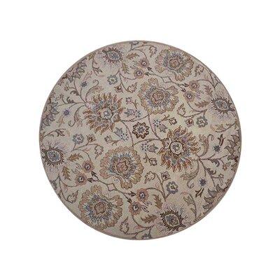 Creamer Vintage Hand-Tufted Wool Cream Area Rug Rug Size: Round 8