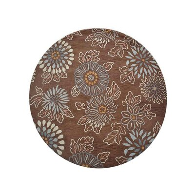 Campas Floral Hand-Tufted Wool Brown Area Rug Rug Size: Round 8