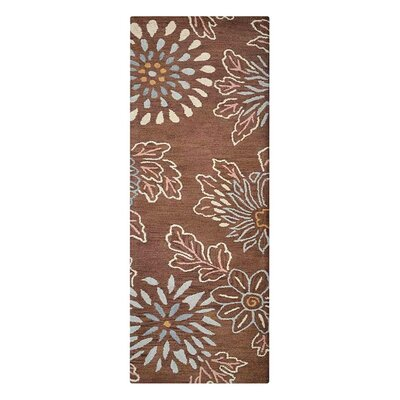 Campas Floral Hand-Tufted Wool Brown Area Rug Rug Size: Runner 26 x 8