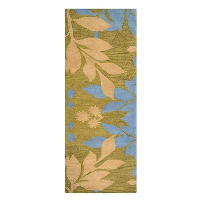 Campas Floral Hand-Tufted Wool Green Area Rug Rug Size: Runner 26 x 8