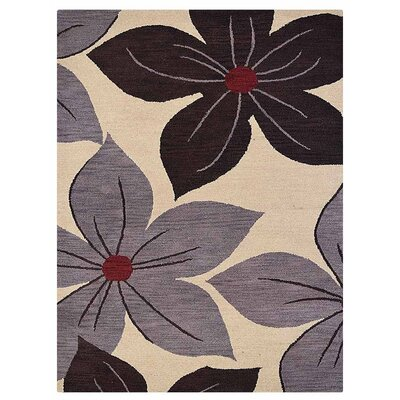 Camptown Floral Hand-Tufted Wool Cream Area Rug Rug Size: Rectangle 5 x 8