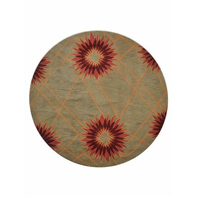 Johansson Floral Hand-Tufted Wool Cream Area Rug Rug Size: Round 8