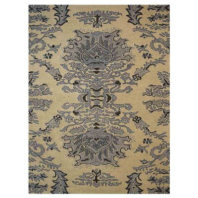 Creasey Floral Hand-Tufted Wool Beige/Blue Area Rug Rug Size: Rectangle 5 x 8