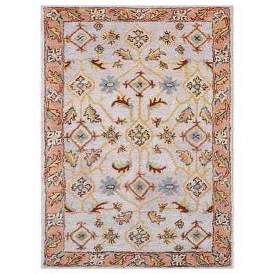 Creamer Vintage Hand-Tufted Wool Cream/Brown Area Rug Rug Size: Rectangle 5 x 8