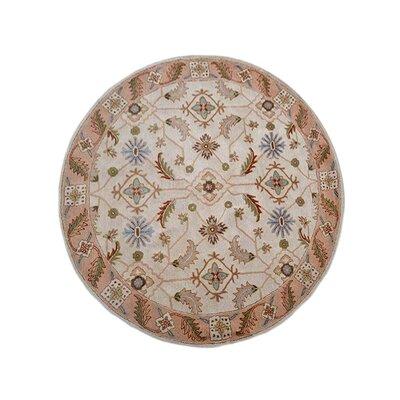 Creamer Vintage Hand-Tufted Wool Cream/Brown Area Rug Rug Size: Round 8