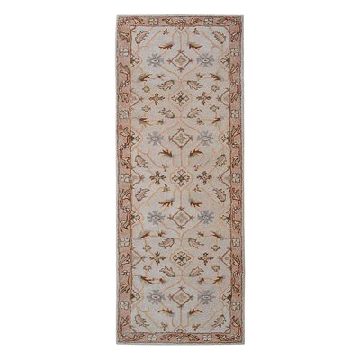 Creamer Vintage Hand-Tufted Wool Cream/Brown Area Rug Rug Size: Runner 26 x 8