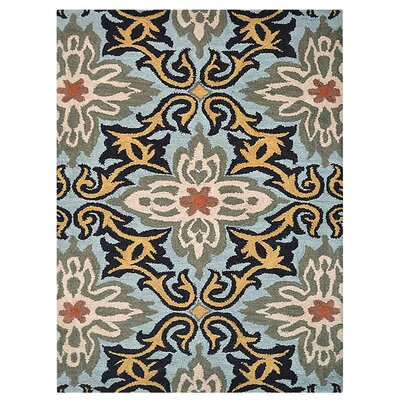 Campas Floral Hand-Tufted Wool Blue Area Rug Rug Size: Rectangle 9 x 12