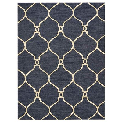 Creasey Geometric Hand-Tufted Wool Blue/Beige Area Rug