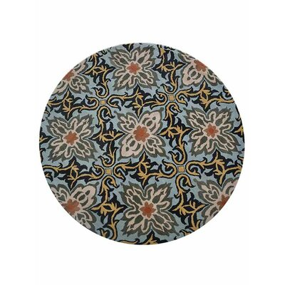Campas Floral Hand-Tufted Wool Blue Area Rug Rug Size: Round 8
