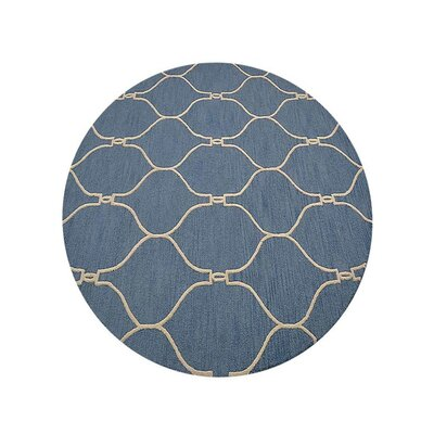 Creasey Geometric Hand-Tufted Wool Blue/Beige Area Rug