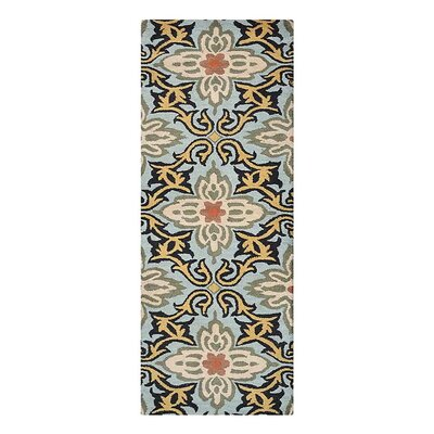 Campas Floral Hand-Tufted Wool Blue Area Rug Rug Size: Runner 26 x 8