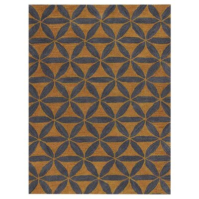 Freida Geometric Hand-Tufted Wool Gold/Blue Area Rug Rug Size: Rectangle 4 x 6