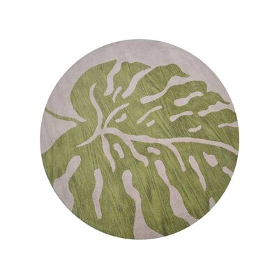 Ketterman Floral Hand-Tufted Wool Beige/Green Area Rug Rug Size: Round 8