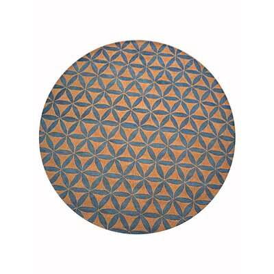 Freida Geometric Hand-Tufted Wool Gold/Blue Area Rug Rug Size: Round 8