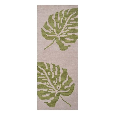 Ketterman Floral Hand-Tufted Wool Beige/Green Area Rug Rug Size: Runner 26 x 8