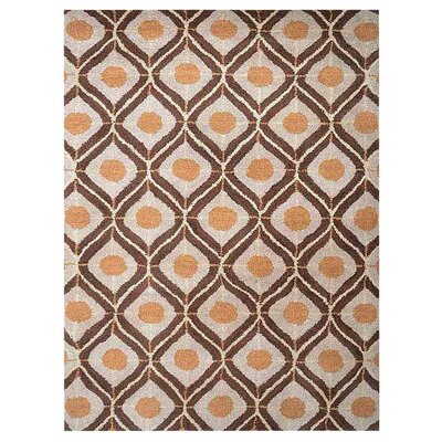 Freida Geometric Hand-Tufted Wool Beige/Brown Area Rug Rug Size: Rectangle 9 x 12