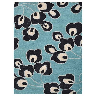 Johansson Floral Hand-Tufted Wool Blue Area Rug Rug Size: Rectangle 9 x 12