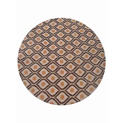 Freida Geometric Hand-Tufted Wool Beige/Brown Area Rug Rug Size: Round 8