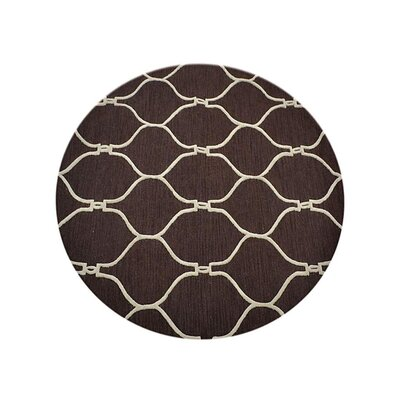 Creasey Geometric Hand-Tufted Wool Brown/Beige Area Rug Rug Size: Round 8