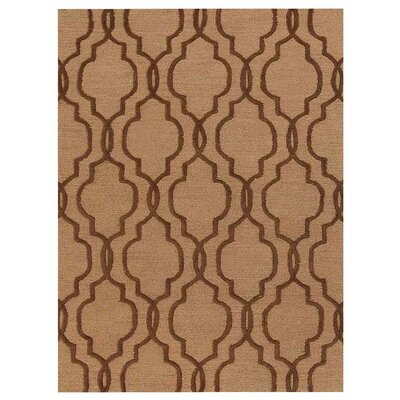 Creamer Geometric Hand-Tufted Wool Light Gold/Brown Area Rug Rug Size: Rectangle 5 x 8