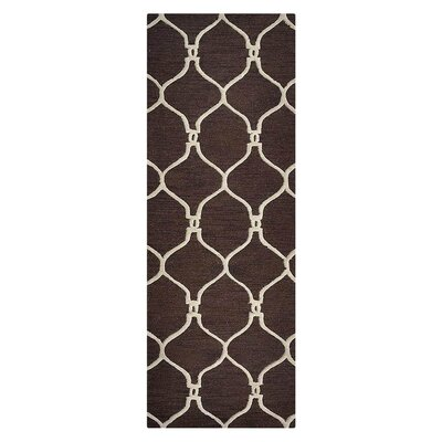 Creasey Geometric Hand-Tufted Wool Brown/Beige Area Rug Rug Size: Runner 26 x 8