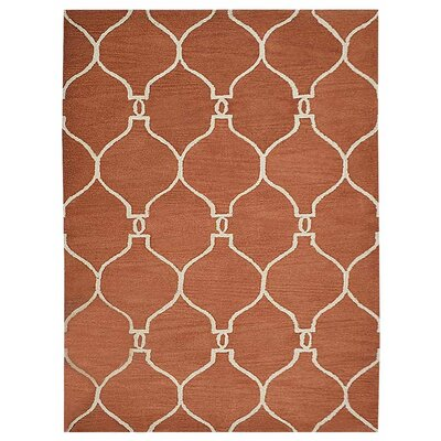 Creamer Geometric Hand-Tufted Wool Red/Beige Area Rug Rug Size: Rectangle 5 x 8