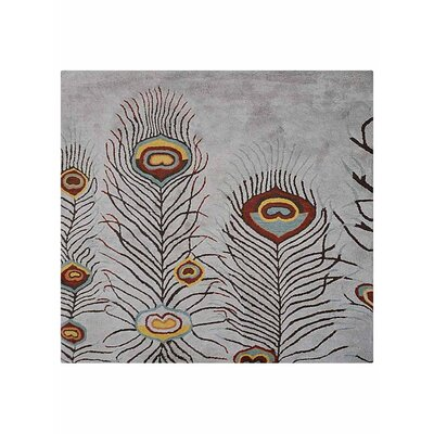 Hetzel Contemporary Hand-Tufted Wool Silver Area Rug Rug Size: Square 6