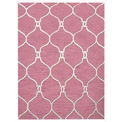 Creamer Geometric Hand-Tufted Wool Light Red/Beige Area Rug Rug Size: Rectangle 5 x 8