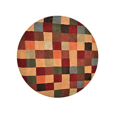 Tullos Carpet Hand-Tufted Wool Green/Red Area Rug Rug Size: Round 6