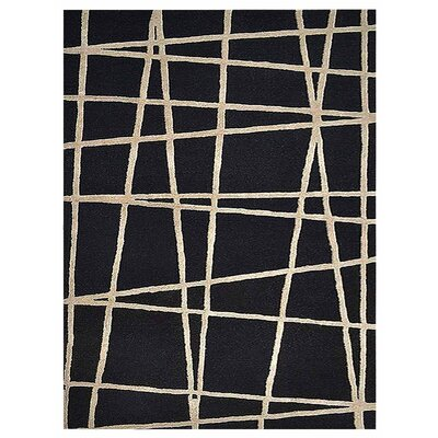 Hultgren Geometric Hand-Tufted Wool Black Area Rug Rug Size: Rectangle 5 x 8