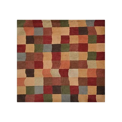 Rugsotic Carpet Hand-Tufted Wool Green/Red Area Rug Rug Size: Square 6