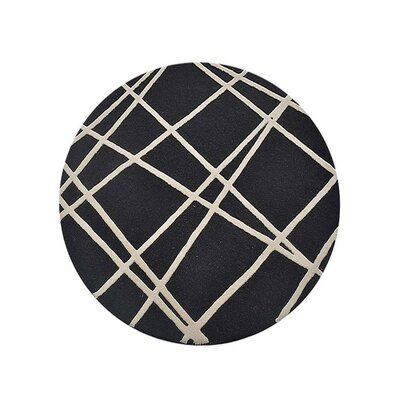 Hultgren Geometric Hand-Tufted Wool Black Area Rug Rug Size: Round 8
