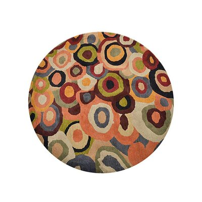 Johansson Geometric Hand-Tufted Wool Red/Brown Area Rug Rug Size: Round 8