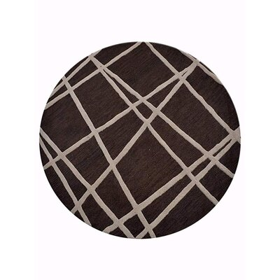 Hultgren Geometric Hand-Tufted Wool Brown Area Rug Rug Size: Round 8