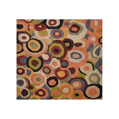 Johansson Geometric Hand-Tufted Wool Red/Brown Area Rug Rug Size: Square 8