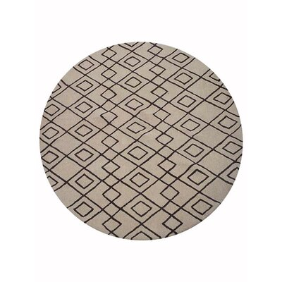 Cheswick Geometric Hand-Tufted Wool Cream/Brown Area Rug Rug Size: Round 8