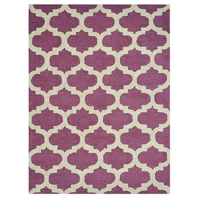 Creamer Geometric Hand-Tufted Wool Purple/White Area Rug Rug Size: Rectangle 5 x 8