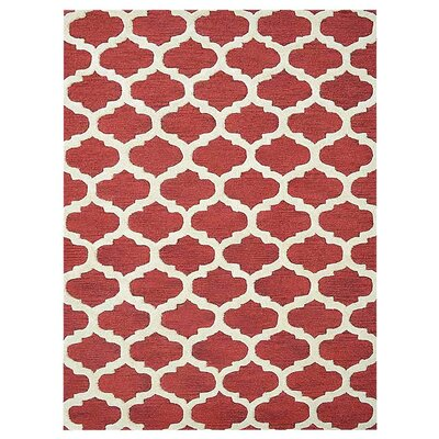 Creamer Geometric Hand-Tufted Wool Red/White Area Rug