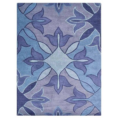Johansson Floral Hand-Tufted Wool Blue Area Rug Rug Size: Rectangle 5 x 8