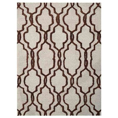 Creamer Geometric Hand-Tufted Wool Beige/Brown Area Rug Rug Size: Rectangle 5 x 8