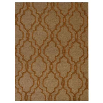 Creamer Geometric Hand-Tufted Wool Beige/Gold Area Rug Rug Size: Rectangle 3 x 5