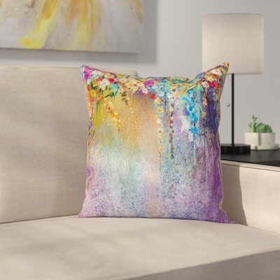 Blooming Flowers Artsy Square Pillow Cover Size: 18 x 18