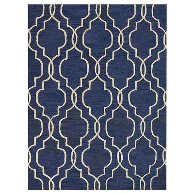 Creamer Geometric Hand-Tufted Wool Blue/Beige Area Rug