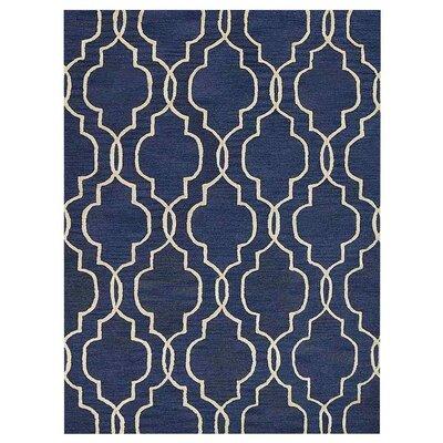 Creamer Geometric Hand-Tufted Wool Blue/Beige Area Rug