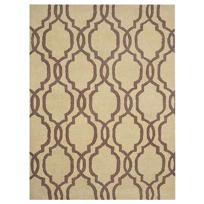 Friedensburg Geometric Hand-Tufted Wool Light Gold/Brown Area Rug Rug Size: Rectangle 5 x 8