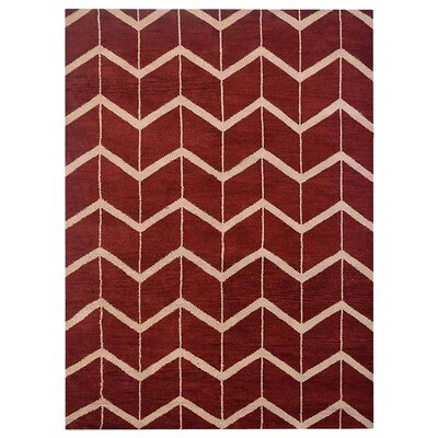 Freida Hand-Knotted Wool Red/Beige Area Rug Rug Size: Rectangle 5 x 8