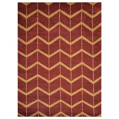 Freida Geometric Hand-Knotted Wool Red/Gold Area Rug Rug Size: Rectangle 9 x 12